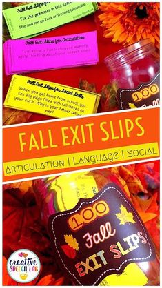 If you're looking for exit ticket ideas to reinforce fall speech therapy activities, look no further! This fall bundle of speech therapy exit slips helps students generalize skills targeted during language therapy activities, articulation therapy and social skills lessons in September, October and November. Exit tickets are supported by research and provide a quick and easy way to make speech language therapy meaningful and achieve carryover! | Creative Speech Lab #slpeeps Social Skills Lessons, Social Skills Activities, Vocabulary Activities, Language Activities, Speech Therapy Themes, Speech Language Therapy, Speech And Language, Get To Know You Activities, Vocabulary Instruction