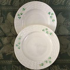 Two Belleek Ireland Shamrock Salad Plates 2nd Generation Green Mark EUC #Belleek