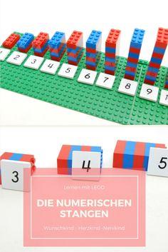 Die numerischen Stangen sind ein mathematisches Material, welches Maria Montessori zum Erlernen des Zahlenraums von 1 -10 hergestellt hat. Mit Lego-Bausteinen kann dieses einzigartige Material auch für Zuhause nachgebaut werden.