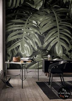 Monstera leaf || Tropical decor wall art || Industrial decor || Banana removable wallpaper - peel and stick mural #4