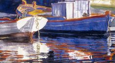"""boats / paros harbour 20"""" x 30""""  micheal zarowsky watercolour on arches paper / private collection"""