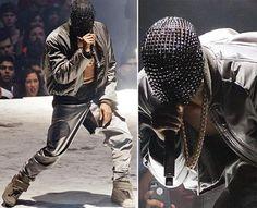 Kanye West concert torn pants face mask