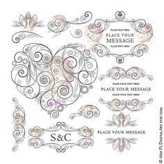 Swirls Heart Frames Flourish Elegant Formal by MayPLDigitalArt