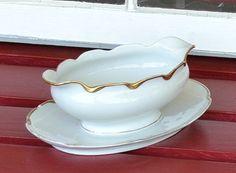Vintage Gravy Bowl Carlsbad Austria China White by PanchosPorch, $4.00