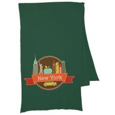 New York Big Apple Skyline Badge Scarf Wraps - dec 13
