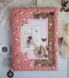 """Купить Блокнот """"Романтика Парижа"""". (А5) - розовый, блокнот, блокнот ручной работы, блокнот для записей"""