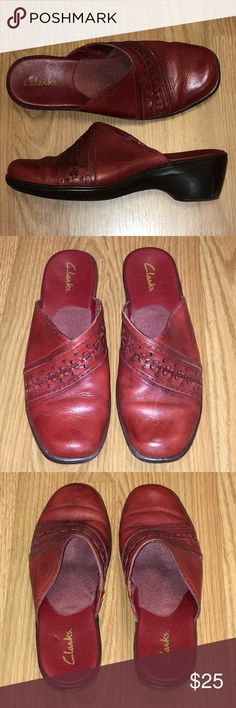"Clarks Red Leather Mules Clogs Size 9.5 M Womens Clarks red leather mules with pretty cut-out design. Approximate 2"" heel. Size 9.5 medium. Clarks Shoes Mules & Clogs"