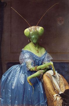 A #beautiful and strange praying mantis illustration from artist Ivo van der Ent. Insectophobia – Fear of insects. Artist: Ivo van der Ent Country: Netherlands Website: www.ivovanderent.nl