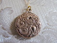 Antique Locket / Victorian Dragon Locket with by LUXXORVintage, $165.00