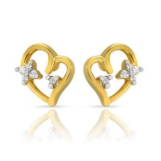 Mahi Chirpy Cupid Studs With Gold Plating And CZ Stones