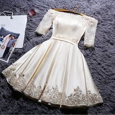 Short Sleeve Party Dresses, White Short Sleeve Homecoming Dresses, Short Prom Dresses, 2017 Homecoming Dress Off-the-shoulder Satin Short Prom Dress Party Dress Hoco Dresses, Prom Dresses With Sleeves, Lace Bridesmaid Dresses, Prom Party Dresses, Evening Dresses, Formal Dresses, Dress Party, Party Gowns, Wedding Gowns