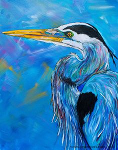 """Blue Heron Head"" - Jen Callahan Artwork - Coastal Colors™"