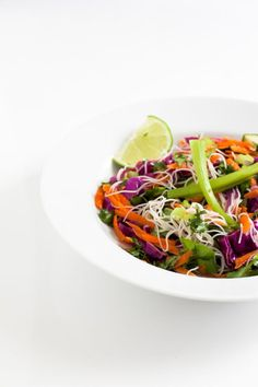Healthy Asian Cabbage Salad ~ With a blend of purple cabbage, shredded veggies, rice noodles and an Asian sesame dressing, this is a gorgeous, truly nutrient-rich salad! ~ from Healthfully Ever After Skinny Recipes, Clean Recipes, Healthy Recipes, Best Salad Recipes, Whole Food Recipes, Asian Sesame Dressing, Asian Cabbage Salad, Vegan Coleslaw, Purple Cabbage