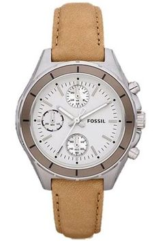 Fossil Women's Dylan CH2830 Brown Calf Skin Quartz Watch with White Dial #Glimpse_by_TheFind