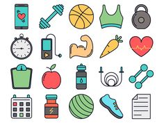 Fitness Vector Free Icon Set by DesZone.net - Free Vector Graphics Icon Design, Logo Design, Fitness Icon, Gym Decor, Sketch Notes, Free Icon, Free Vector Graphics, Free Stickers, Emoticon