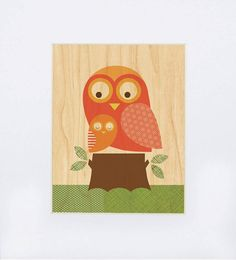 (unframed) Owl with Baby on wood. By Lorena Siminovich. $15