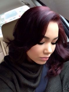 Burgundy hair color/I really like this color. I think this would look really good on my complexion