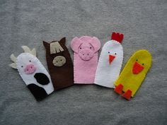 Finger Puppets Farm Animals Set of Five Animals, Incluides a Cow, Horse, Pig, Chicken and a Duck - Nutztiere Felt Puppets, Felt Finger Puppets, Finger Puppet Patterns, Farm Animal Crafts, Puppet Making, Felt Toys, Felt Animals, Felt Crafts, Hand Stitching