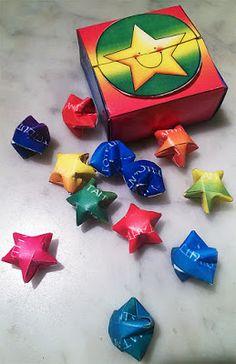 MAMMI MIA!: 12 onnentähteä rasiassa DIY-ohje. Printable 12 lucky stars in a box.