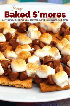 To make these Skinny Baked Smores just pop them under the broiler or into your toaster oven. And because they are open-faced and use miniature marshmallows and chocolate chips, a LOT lower in calories! Ww Desserts, Desserts To Make, Healthy Desserts, Delicious Desserts, Dessert Recipes, Baked Smores, Oven Smores, Toaster Oven Recipes, Weightwatchers Recipes