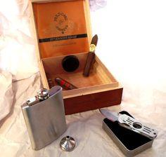 Humidor, Flask & Cigar Knife Cigar Box Gift Set - Groomsman / Wedding Best Man…