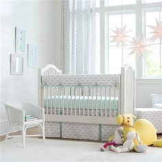 French Gray and Mint Quatrefoil Crib Bedding by Carousel Designs.