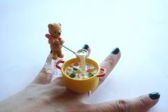 Floating Miniature Ring, Teddy Bear Cooking Soup