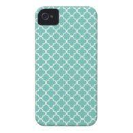 Aqua Mint Quatrefoil Pattern Case-Mate iPhone 4 Cases