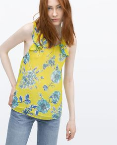 ZARA - WOMAN - PRINTED TOP WITH FRILLS