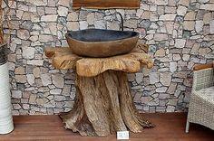 Design Waschtisch Unterschrank Unterbau Holz massiv Badschrank Möbel Waschbecken