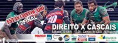 └► Like – Fan Page ► Cascais Rugby ◄ #cascais #rugby #cascaisrugby #jogosfimdesemana SENIORES – 1/2 do Campeonato Nacional de Seniores (Divisão de Honra) DIREITO X CASCAIS Sábado, 30 de Abril, às 17:00 horas, no Campo do GDD, Monsanto. SUB 18 – 3ª Jornada da Apuramento AGRÁRIA DE COIMBRA x CASCAIS Sábado, 30 de Abril …