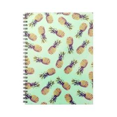 Mint green tropical pineapple fashion pattern spiral notebook ($14) ❤ liked on Polyvore featuring home, home decor and stationery