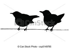 Two birds on the wire vector silhouettes. Eps Vector, Vector Art, Two Birds, Art Icon, Free Illustrations, Painted Signs, Line Art, Batman, Wire