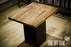 'One Off Oak' Solid English #Oak and #i-beam coffee #table. This 40cm square coffee table has a steel i-beam inserted through the top providing the support. It has been finished perfectly flat with the table top and the contrast between the oak and polished steel looks fantastic! #oneoffoak
