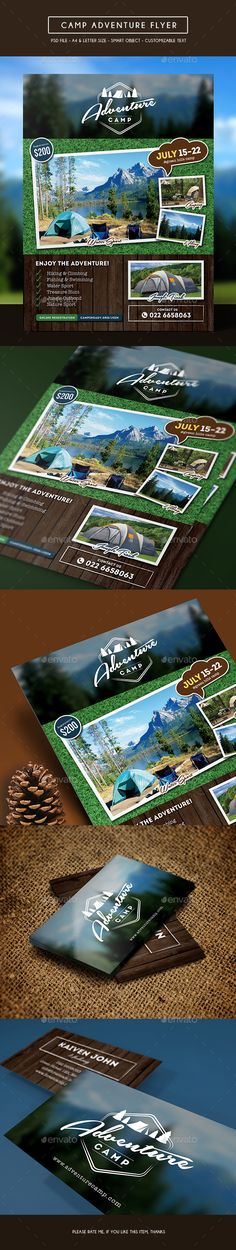 Buy Camping Adventure Flyer + Business Card by arifpoernomo on GraphicRiver. This Camping Adventure Flyer Template, can be used for promote your business like summer camp, school camping, hiking. Business Events, Business Flyer, Business Cards, Library Posters, News Web Design, Sports Flyer, Event Flyer Templates, Safari, Corporate Flyer