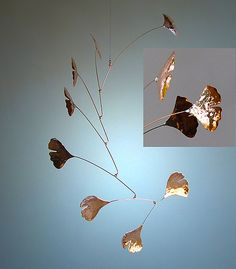 Ginkgo Mobile with 7 Copper Leaves: Jay Jones: Metal Sculpture - Artful Home