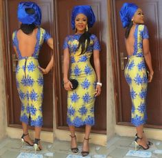 Nigerian Fashionistas Cause a Stir in Their Admirable and Mind-Blowing Aso-Ebi Styles - Wedding Digest Naija African Print Dresses, African Print Fashion, Africa Fashion, African Clothes, African Prints, Nigerian Lace Dress, Nigerian Lace Styles, African Attire, African Wear