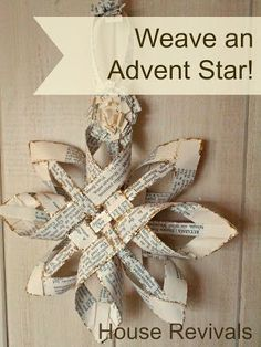 House Revivals: Christmas Swedish Advent Star - A New Variation - Elke Schaarmann - internationally inspired Paper Christmas Ornaments, Ornament Crafts, Book Crafts, Christmas Projects, Holiday Crafts, Holiday Fun, Christmas Holidays, Felt Christmas, Handmade Christmas