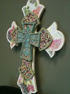 3 tier FLORAL Wooden Cross w/Turquoise accent cross by kylenb, $45.00