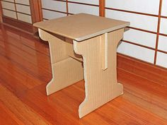 Simple Knock-down Cardboard End Table (flat Pack): 4 Steps (with Pictures) Diy Cardboard Furniture, Cardboard Box Crafts, Cardboard Playhouse, Paper Furniture, Cardboard Sculpture, Cardboard Paper, Furniture Design, Office Furniture, Cardboard Recycling