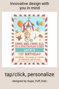 Shop Boys Vintage Circus Birthday Party Invitation created by Sugar_Puff_Kids. Birthday Party Punches, Vintage Birthday Parties, Birthday Party Snacks, Fairy Birthday Party, 5th Birthday, Birthday Celebration, 1st Birthday Invitations Boy, Circus 1st Birthdays, Holiday Party Themes