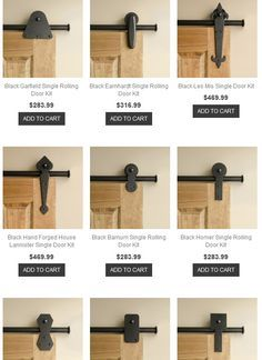 Sliding door hardware, who would have known you have so many choices when installing barn doors in the home! Rolling Door Designs: online resource for hardware for rolling barn doors The Doors, Sliding Doors, Sliding Barn Door Hardware, Wood Doors, Interior Barn Door Hardware, Door Kits, Closet Doors, Pantry Doors, Home Remodeling