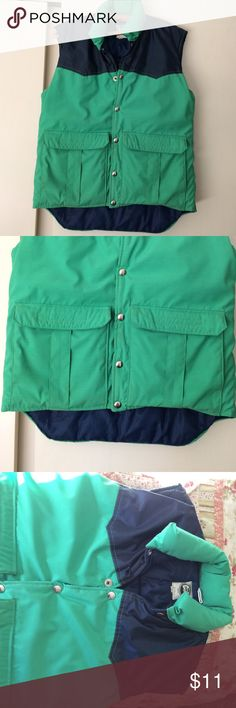 Green& blue womans vest Nice royal blue and green down vest, snaps up front 2 big front pockets, great condition. Ladies size small alti wear Jackets & Coats