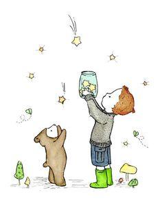 Children's Art Catching Stars Art Print by trafalgarssquare, $10.00