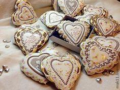 "Пряники имбирные сердечки ""Шебби шик и золото"". Handmade."