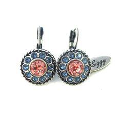 Swarovski crystal Peach and Denim earrings ornate by SiggyJewelry