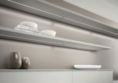 Diva, from DOMUS Line, is a linear recessed profile with symmetrical projection. Ideal for installation under shelving.