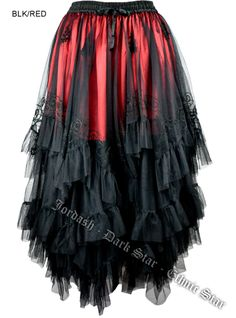 Dark Star Long Black and Red Mesh Embroidered Layered Gothic Skirt [DS/SK/7641R] - $101.99 : Mystic Crypt, the most unique, hard to find items at ghoulishly great prices!