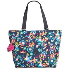 Kipling Disney's Alice in Wonderland New Shopper Extra-Large Tote ($119) ❤ liked on Polyvore featuring bags, handbags, tote bags, tea rose, white shopping bags, white tote bag, kipling handbags, white purse and kipling tote