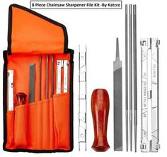 Early Bird Special: 8 Piece Chainsaw Sharpener File Kit - Contains & Inch Files, Wood Handle, Depth Gauge, Filing Guide, & Tool Pouch - For Sharpening & Filing Chainsaws & Other Blades - By Katzco Best Electric Chainsaw, Electric Chainsaw Sharpener, Best Chainsaw, Chainsaw Repair, Chainsaw Parts, Chainsaw Sharpening Tools, Blade Sharpening, Chainsaw Accessories, Cleaning